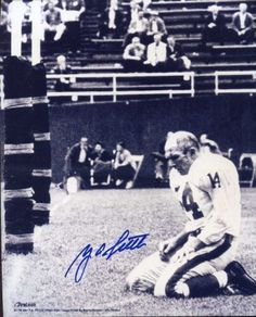Y.A. Tittle Famous 1964 Photo Autographed/ Original Signed 8x10 Photo of the Kneeling Quarterback Bloodied and Without Helmet After Being…