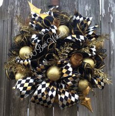 Black and Gold Christmas Christmas Wreath Holiday by BaBamWreaths