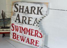 Shark bite sign, nautical nursery, beach decor, surf nursery shark theme Cute sign for the boys room Surf Nursery, Nautical Nursery, Nautical Theme, Themed Nursery, Nursery Room, Nursery Ideas, Pool Signs, Beach Signs, Shark Bathroom