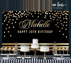 Black Gold Party Black and Gold Backdrop Adults Party Banner Poster Happy 30th Birthday, 70th Birthday Parties, Anniversary Parties, Birthday Celebration, Graduation Decorations, Birthday Decorations, Party Banner, Gold Backdrop, Flower Backdrop
