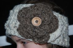 Pattern crochet headwarmer with flower by Nogginsandnapes on Etsy, $3.99