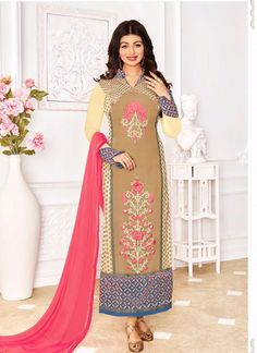 Buy Online Chikoo Georgette Churidar Suit with Chikoo Santoon salwar, Peach Chiffon dupatta and having Zari, resham embroidery with stone work and Lace border, Border Lace work at Shopkund in Bristol UK Designer Suits Online, Designer Salwar Suits, Designer Dresses, Bollywood Dress, Bollywood Fashion, Bollywood Style, Churidar Suits, Salwar Kameez, Outfit Online