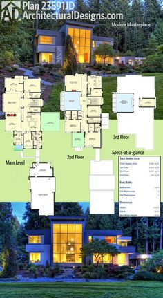 Architectural Designs Modern House Plan 23531JD gives you a third floor should you build out the loft. And has a massive wall of glass giving you breathtaking views. Ready when you are. Where do YOU want to build?