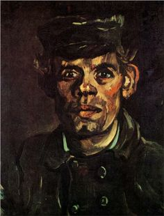 Head of a Young Peasant in a Peaked Cap - Vincent van Gogh