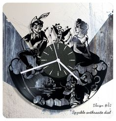 Peter Pan Wendy vinyl record clock, vinyl wall clock, vinyl clock, kids gift 061 #newlifeofvinyl