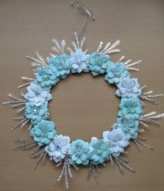 Hand Decorated Mdf Glittered Teal/Aqua Floral Wreath 35cm by JustJulesHomeDecor on Etsy