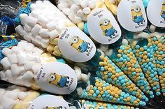 Minions Pre Filled Goody Cones Bags Birthday Sweets Party Personalised in Soft/ Chewy Sweets Minion Party Bags, Minion Party Theme, Despicable Me Party, Minion Birthday, Birthday Sweets, 4th Birthday Parties, Birthday Fun, Birthday Ideas, Birthday Wishes