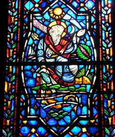 stained glass windows in the sanctuary of Covenant Presbyterian Church, Charlotte, NC