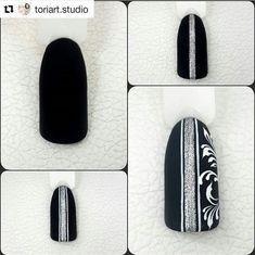 Matte Stiletto Nails, Black Nails, Black Nail Designs, Diy Nail Designs, Floral Nail Art, Nail Art Diy, Autumn Nails, Winter Nails, Nail Art For Beginners