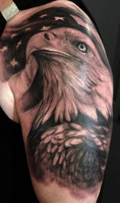 Done in realistic form, this eagle arrives in a patriotic image with its fierce appearance that stands out in the American Flag backdrop. The bird& head and chest are richly drawn in black ink, while stars fade in the darkness and brilliance of black. Retro Tattoos, Patriotische Tattoos, Modern Art Tattoos, Army Tattoos, Hunting Tattoos, Military Tattoos, 1 Tattoo, Best Sleeve Tattoos, Tattoos For Guys