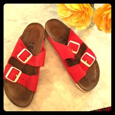 EUC soft footbed red 2 strap birks size 38 Super comfortable soft red leather 2 strap style with soft footbed and sneaker style sole. Buckles are metal with white enamel coating. These will be super cute with cropped jeans, overalls, and shorts! Birkenstock Shoes Sandals