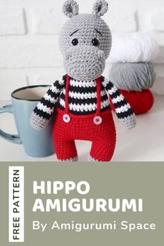 A free crochet pattern of a hippo. Do you also want to crochet this hippo amigurumi? Read more about the Free Crochet Pattern Hippo Amigurumi. A free crochet pattern of a hippo. Do you also want to crochet this hippo amigur. Crochet Hippo, Crochet Amigurumi Free Patterns, Crochet Geek, Crochet Animals, Knitting Patterns, Free Crochet Pattern Animals, Easy Knitting Projects, Crochet Projects, Knitted Teddy Bear