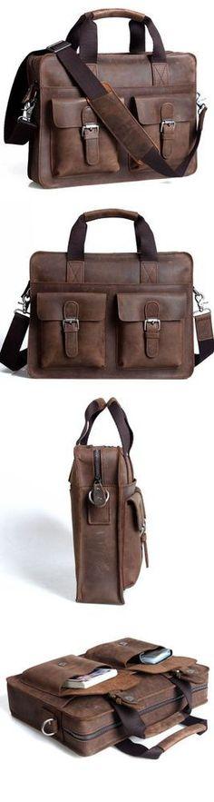 "Vintage Leather Briefcase / Messenger Satchel / 12"" 13"" Laptop 11"" 13"" MacBook Bag -- Men's / Women's"