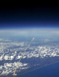 Space shuttle take off. View from International Space Station.