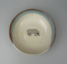 Painted badger bowl