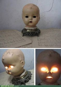 Creepy lamp to freak out house guests.....now on the hunt for doll heads.