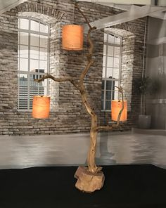 Floor lamp of oak branch mounted on boulder including lampshades of your choice. Rustic Wall Lighting, Interior Lighting, Home Lighting, Handmade Wood Furniture, Log Furniture, Driftwood Lamp, Wood Lamps, Hanging Lantern Lights, Rustic Home Design