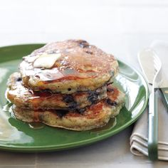 Blueberry-Flax Buttermilk Pancakes Recipe | Martha Stewart