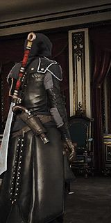 """strategichomelanddivision: """"Assassin's Creed Challenge: outfits – Custom Arno Outfit: Pure shadow; Improved Bourgeois Hood, Legendary Prowler Coat, Legendary Military Bracers, Arno's Master. Arno Dorian, Assassins Creed Unity, Assassin's Creed, Paladin, King Queen, Larp, Weapons, Video Games, Writer"""