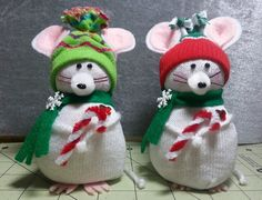 Make these adorable no-sew Christmas mice out of kid size Dollar Tree Socks! These are unbelievably easy to put together AND very ine...