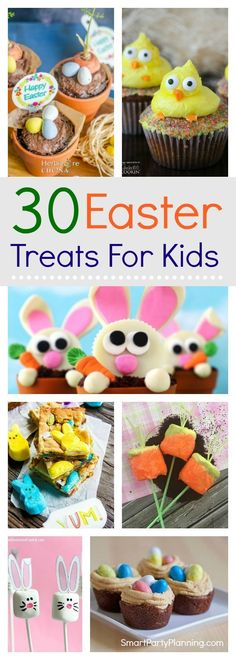 30 amazing Easter treats for kids that they are going to absolutely LOVE.  These recipes are easy to make and are great for parties or for school. There are ideas that include chocolate, peeps, no-bake and non-chocolate treats.  The difficult decision will be deciding which one to make first!