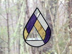 Raindrop suncatcher, stained glass teardrop abstract modern, purple yellow drop suncatcher, home decor, bevel suncatcher, Summer raindrop - pinned by pin4etsy.com