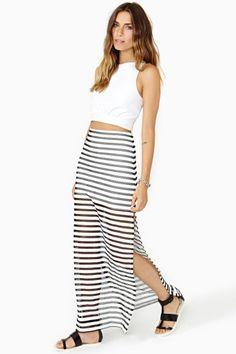 Static Stripe Maxi Skirt