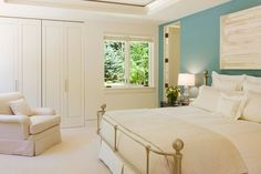Calming blue. Turn the master bedroom into a sanctuary with soothing light blue. Maybe the tranquil glow will even convince the kids to keep...
