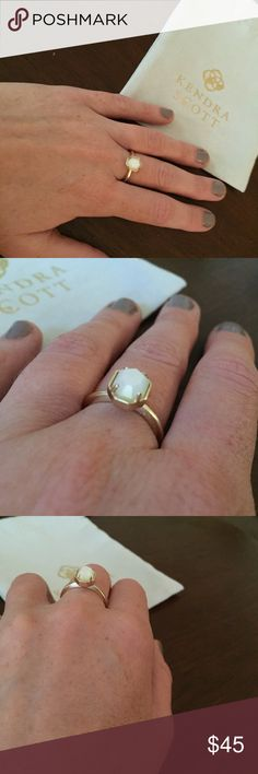NWT Calvin Ring in Ivory Pearl The Calvin gold ring has an organic heptagon setting with four prongs on a delicately etched gold band. Perfect alone or stacked with others. Size 6. Stone is ivory pearl. Available only in the color bar. This piece will arrive in Kendra Scott packaging, bubble wrap, and a Kendra Scott dust bag. Perfect as a Christmas gift! Kendra Scott Jewelry Rings