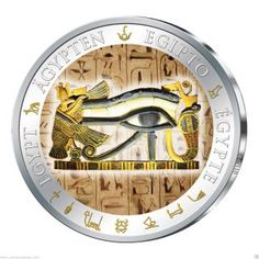 The Eye of Horus is an ancient Egyptian symbol of protection, royal power and good health. Silver Coins For Sale, Gold And Silver Coins, Rare Eye Colors, Ancient Egyptian Art, Egyptian Goddess, Custom Coins, Edibles Online, Bullion Coins, Eye Of Horus