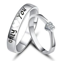 New Fashion Only You 925 Sterling Silver White Gold Plated Cubic Zirconia Couple Rings. This is an adorable promise ring. Clean Gold Jewelry, Black Gold Jewelry, Tungsten Wedding Bands, Wedding Rings, Cute Promise Rings, Promise Ring Sets, Fake Engagement Rings, Do It Yourself Fashion, Couple Rings