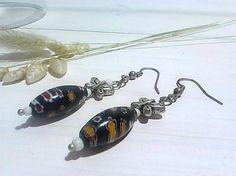Boucles d'oreilles papillon pendantes style murano noir by itssomimi2 on Etsy