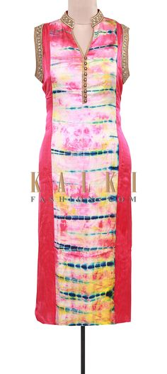 Buy Online from the link below. We ship worldwide (Free Shipping over US$100). Product SKU - 309124.Product Link - http://www.kalkifashion.com/pink-and-cream-kurti-featuring-in-tie-and-die-only-on-kalki.html