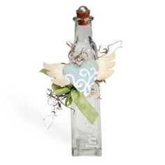 Heart with Wings Glass Bottle com faca Sizzix