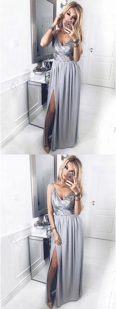 A-Line Spaghetti Straps Floor-Length Grey Prom Dress with Sequins Split#promdress#eveningdress#dress#dresses#gowns#partydress#longpromdress