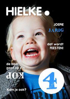 Design Invitation / Uitnodiging Kinderfeestje - eigen foto - by OTTI www.kaartje2go.nl