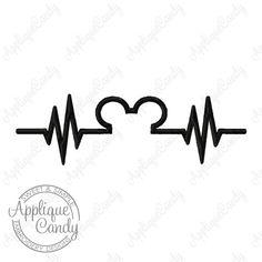 Mr Mouse Heartbeat Head Silhouette Machine Embroidery Design