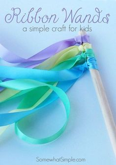 Ribbon Wands - A Fun and Easy Kids Craft Idea by S. Ribbon Wands – A Fun and Easy Kids Craft Idea by Somewhat Simple Diy Crafts To Do, Easy Crafts For Kids, Craft Activities For Kids, Projects For Kids, Diy For Kids, Fun Diy, 4 Kids, Summer Kid Crafts, Craft Projects