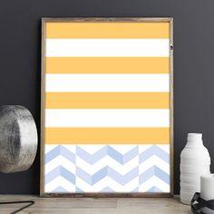 Laminas, Lamina Decorativa, Laminas Nordicas, Geometric Abstract Deco, Minimal Deco, Summer Deco, Navy Stripes Nursery, Yellow Blue Stripes