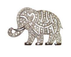 Hattie Carnegie Art Deco Elephant Brooch  with Rhinestones