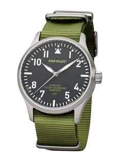 POP-PILOT® watches CPT with an olive-green nato strap