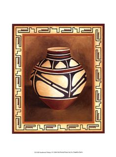 Southwest Pottery I Fine-Art Print by Chariklia Zarris at UrbanLoftArt.com