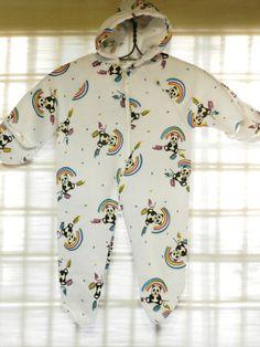 Vintage Baby Sleeper / Snowsuit - Pandas and Rainbows / 3-12 months