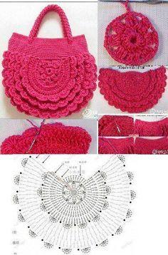 This reminds me of ruffled diaper covers Free Crochet Bag, Crochet Market Bag, Crochet Clutch, Crochet Stitches Patterns, Crochet Handbags, Crochet Purses, Crochet Gifts, Crochet Designs, Crochet Bags