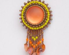 Check out Summer sale 15% FREE SHIPPING, Bead embroidery, Pendant, Seed bead  necklace, Trending style, Lunasoft,  Swarovski heart, orange, lemon, bro on vicus