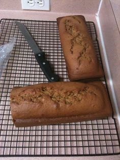 Pumpkin Maple Bread:  1.5 Cups Maple Syrup  1.5 Cups Sugar  4 Eggs  3 Cups Pumpkin (This was made with Squash)  3/4 Tsp. Salt  3/4 Tsp. Baking Powder  1.5 Tsp. Cinnamon  4.5 Cups flour  1.5 Tsp. Baking Soda  1.5 Tsp. Cloves (powder)  1.5 Tsp. Nutmeg     Beat Syrup, eggs, oil, and sugar together then you add the pumpkin (or butternut squash)  Add the rest and bake at 300 for appx. 1 hr and 20ish minutes.    The batter is thick, and pours like a cake.  This one recipe made the 2 loaves you see…