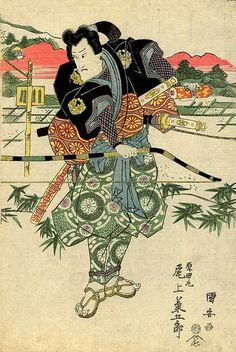 Edo period wood block print showing a samurai holding a yumi and wearing a kusari katabira under his kimono.