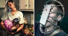 18 Pictures Showing That Modern Technology Makes Our Life Insanely Weird Pikachu, Art With Meaning, Satirical Illustrations, Meaningful Pictures, Art Sculpture, Something About You, Plank Workout, Our Friendship, Easy Workouts
