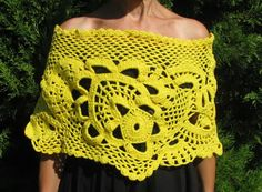 yellow Capelet crochet Capelet   yellow hand made by knittingwomen