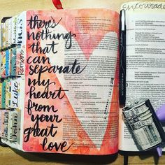Bible journaling example. I love the date stamp inside the heart. This paint technique could be done with any shape-hearts, angel wings...